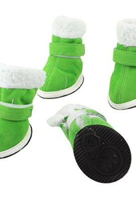 2-Pairs-Walking-White-Plush-Rim-Green-Pet-Dog-Cat-Boot-Shoes-Size-XS-0