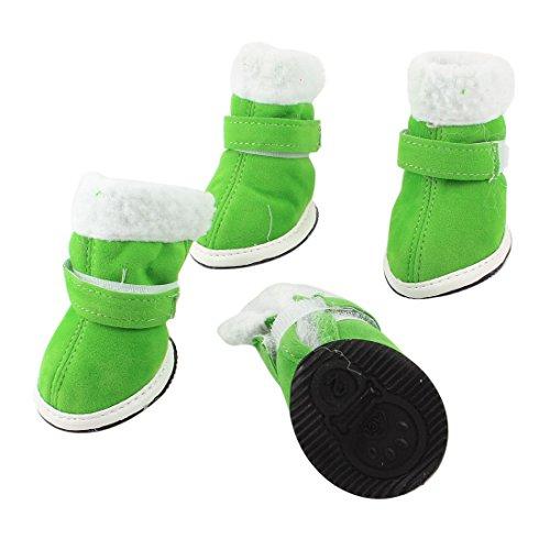 2-Pairs-Walking-White-Plush-Rim-Green-Pet-Dog-Cat-Boot-Shoes-Size-XS-0