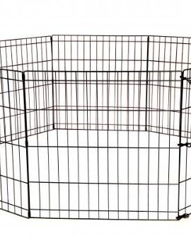 30-Tall-Dog-Playpen-Crate-Fence-Pet-Kennel-Play-Pen-Exercise-Cage-8-Panel-Black-0