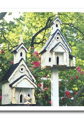 3dRose-ht374113-White-Wood-Bird-Houses-with-Pink-Flowers-N-Trees-Iron-on-Heat-Transfer-Paper-for-White-Material-10-by-10-Inch-0