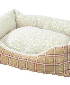 AlphaPooch-Cuddler-Rectangular-Bolster-Dog-Bed-Red-and-Tan-Plaid-Fabric-with-Fleece-Large-0