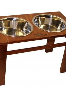 Amish-Handcrafted-Oak-12-Tall-Elevated-Pet-Feeder-Classic-Mahogany-0