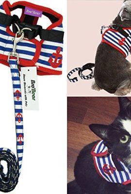 BroBear-Adorable-Soft-Velcro-CatDog-Safety-Walking-Mesh-Sailor-Vest-Harness-Matching-Lead-Leash-SetCan-Be-Pet-Kitty-Puppy-Car-Vehicle-Seat-HarnessHalloween-Classics-Collection-CostumePhoto-ApparelHoli-0