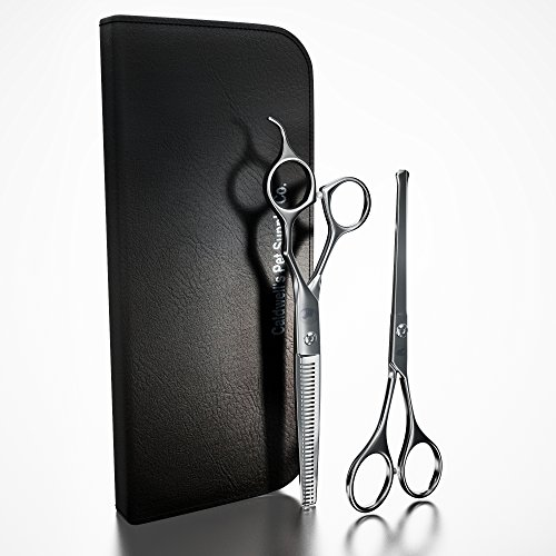 Caldwells-Long-and-Short-Haired-Cat-and-Dog-Grooming-Scissors-Set-of-Two-1-Pair-Pet-Thinning-Shears-with-1-Pair-Round-Tip-Ball-Tip-Safe-Edge-Trimming-Shears-0
