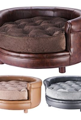 Chesterfield-Real-Faux-Leather-Large-Dog-Bed-Designer-Pet-Sofa-By-Villacera-0
