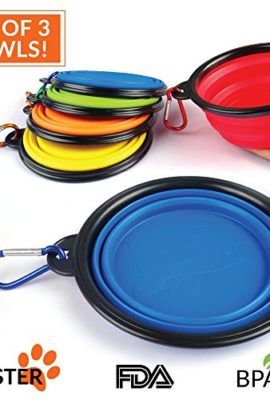 Collapsible-Travel-Dog-Bowl-Set-of-3-by-Buster-Pets-Carabiners-Included-Perfect-Dogs-Food-Water-Bowl-Dishwasher-Safe-Premium-Food-Grade-Silicone-BPA-Free-100-Money-Back-Guarantee-0