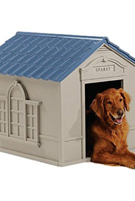 Deluxe-Dog-House-Furniture-Ventilated-Sturdy-Plastic-Taupe-Blue-0