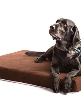 Dog-Bed-Orthopedic-Memory-Foam-Extra-Large-40x35x4-with-Durable-Waterproof-Liner-and-Removable-Designer-Chocolate-Brown-Micro-suede-Washable-Cover-The-Smokey-Dog-Co-Best-Therapeutic-Pet-Beds-for-Big-B-0