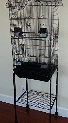 Large-Canary-Parakeet-Cockatiel-LoveBird-Finch-Roof-Top-Bird-Cage-With-Stand-18x14x60-0
