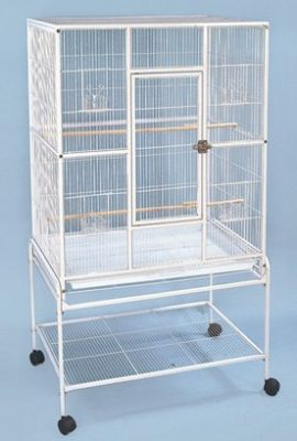 Large-Wrought-Iron-Metal-Bird-Flight-Cage-Aviary-With-Removable-Rolling-Stand-32-Inch-by-19-Inch-by-64-Inch-0