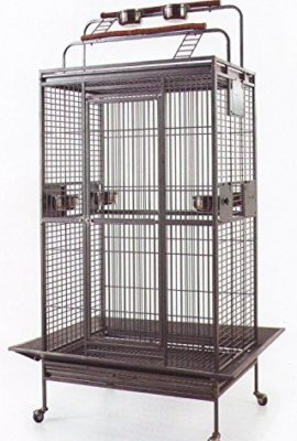 New-Large-Wrought-Iron-Bird-Parrot-Cage-Double-Ladders-OpenClose-Play-Top-Include-Seed-Guard-and-Open-Play-Top-0