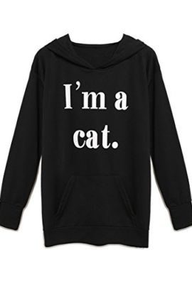 Persun-Womens-Black-Hooded-Neck-Letter-Print-Cat-Ear-with-Pockets-Hoodie-0