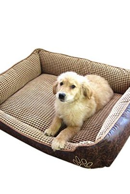 Seven-Top-Big-Size-extra-large-Waterproof-PU-leather-dog-bed-House-sofa-Kennel-washable-Soft-Fleece-Corn-velvet-0
