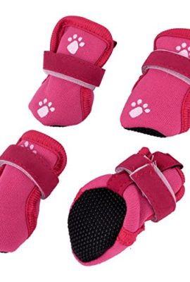 Walking-Running-Nonskid-Sole-Dog-Cat-Boot-Shoes-XS-Red-2-Pairs-0
